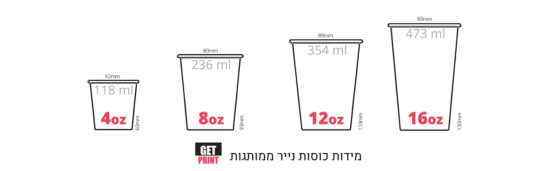 מידות כוסות נייר קפה חד פעמיות מעוצבות