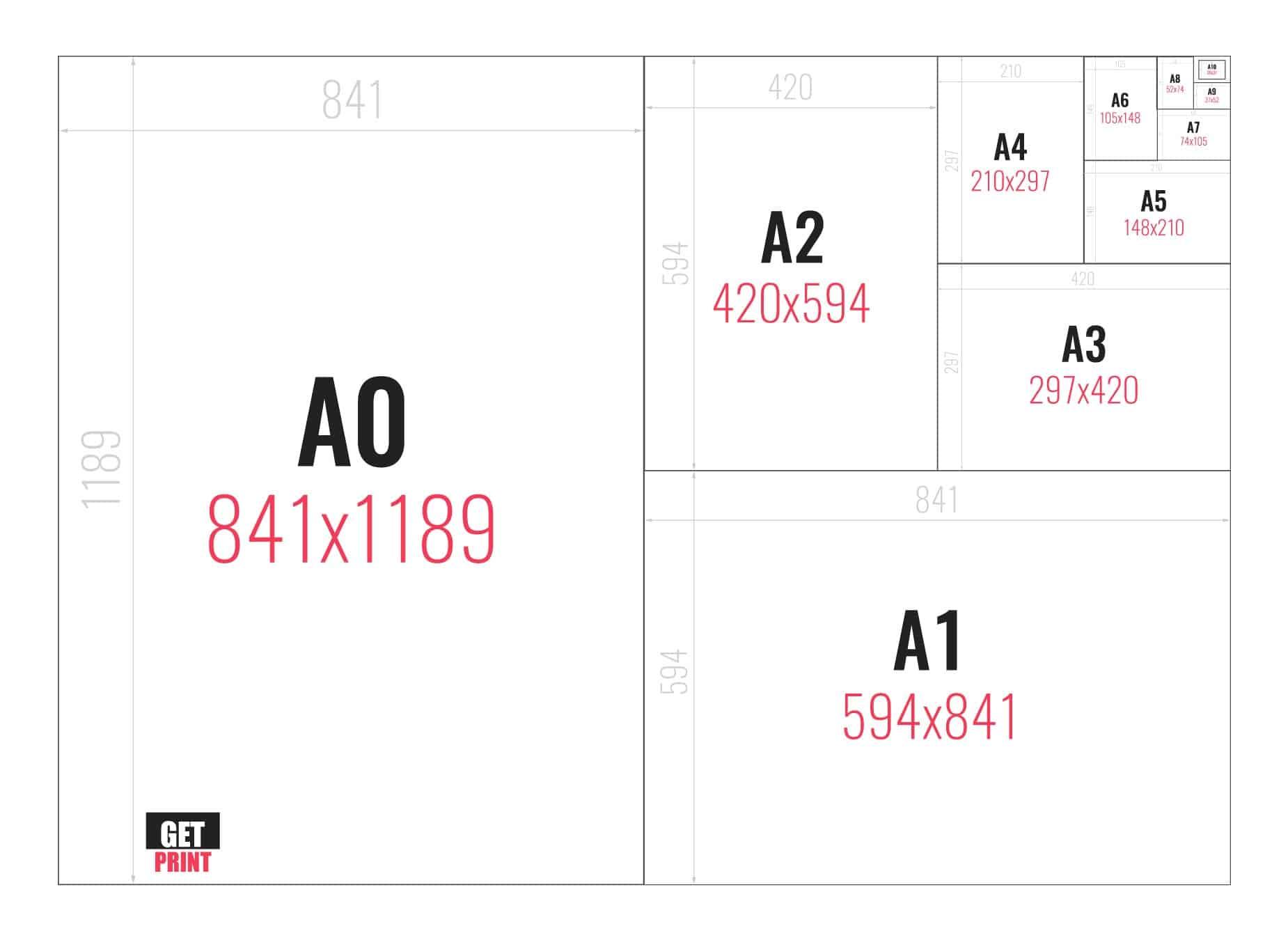 מידות נייר לדפוס - גט פרינט דפוס לעסקים Get Print